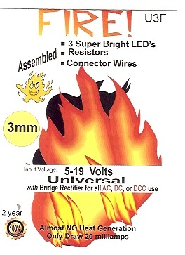 U3F Simulated Fire 3mm LED Kit by Evan Designs-0