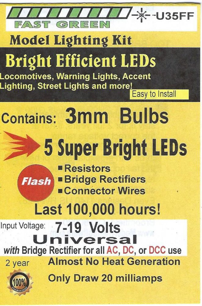 U35FF 3mm Bright Fast Flashing Green LED, Pkg=5 by Evan Designs-0