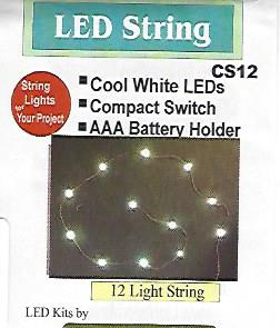 CS12 Cool White LED String of 12 Lights by Evan Designs-0