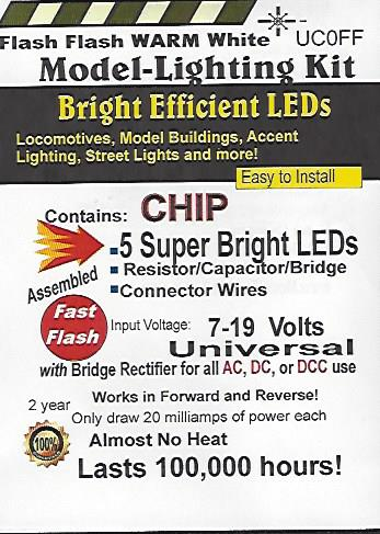 UC0FF Fast Flashing SMD Chip, Color=Warm White Pkg=5 by Evan Designs-0