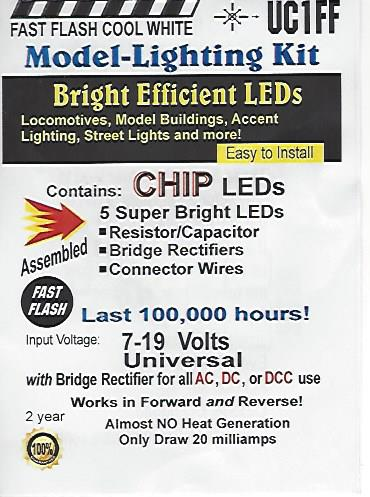 UC1FF Fast Flashing SMD Chip, Color=Cool White Pkg=5 by Evan Designs-0