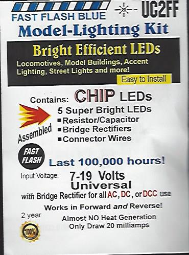 UC2FF Fast Flashing SMD Chip, Color=Blue Pkg=5 by Evan Designs-0