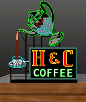 7881 Model H&C Coffee Animated Lighted Sign by Miller Signs
